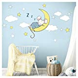 Little Deco Aufkleber Maus auf Mond und Sterne I S - 21 x 29 cm (BxH) I Wolken Wandbilder Baby Wandtattoo Kinderzimmer Tiere Deko Babyzimmer Kinder Sticker DL301