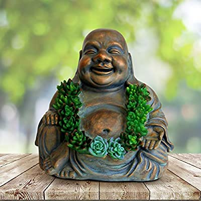 Exhart Solar Happy Buddha Garden Statue in Bronze Look with Succulents, 10 Inch