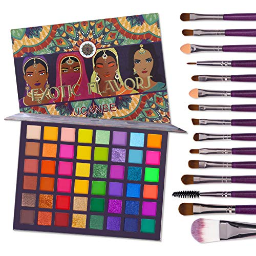 UCANBE EXOTIC FLAVORS Eyeshadow Palette + 15 PCS Eye Brushes Makeup Set 48 Colors Neon Shimmer Matte Glitter Eye Shadow Powder Highly Pigmented Gift Set Make Up Pallet