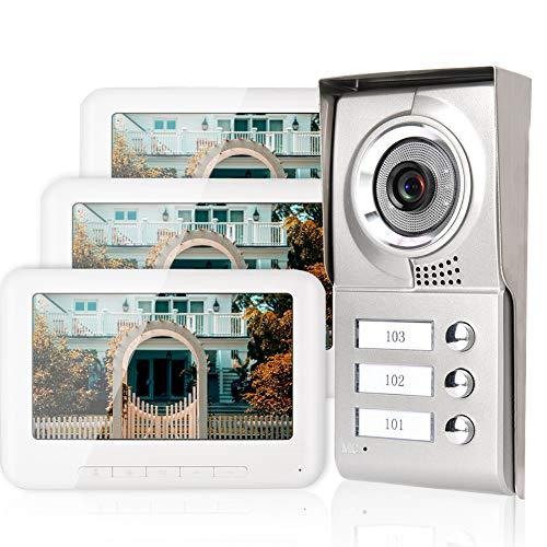 7 Pollici Campanello Videocitofono a 4 Fili con Schermo TFT-LCD a Colori HD, Door Phone 3 Appartamenti per Sicurezza Villa, Telecamera IR-CUT con Visione Notturna/Funzione di Blocco Elettrico(EU)