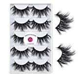 3D Mink 25mm False Eyelashes LASGOOS Siberian Luxurious Soft Cross Thick Very Long Wedding Dram Party 5 Pairs Fake Eye Lashes (E89-5)