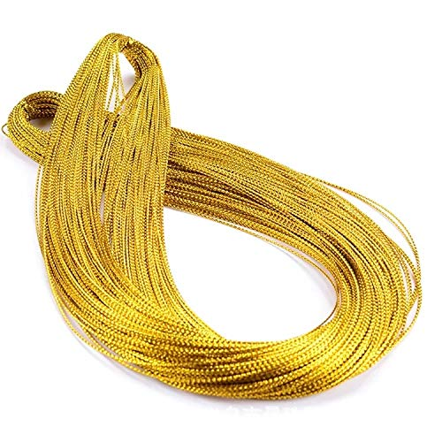 Gold Thread,Tag Thread,Gold String Metallic Cord Jewelry Thread Craft String Lift Cord for Wrapping, Hair Braiding and Craft Making 100 Yards-1mm