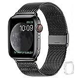 WFEAGL コンパチブル apple watch バンド, コンパチブルiWatch通用ベルト apple watch 6/5/4/3/2/1, SEに対応 交換ベルトステンレス製(42mm 44mm, ブラック)