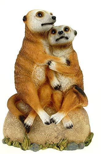 Kremers Schatzkiste Figura de pareja de suricatos para jardín, 30 cm, figura de gato marítimo, decoración de jardín, de resina para exteriores