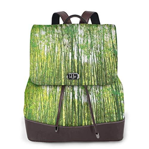 SGSKJ Rucksack Damen Bambusbaum 34, Leder Rucksack Damen 13 Inch Laptop Rucksack Frauen Leder Schultasche Casual Daypack Schulrucksäcke Tasche Schulranzen