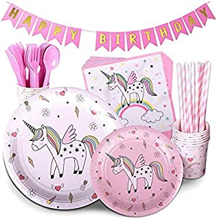 Unicorn Party Supplies PINK 72 Piece Pack Children's Rainbow Birthday Party Supply Set Bonus Happy Birthday Banner and Pap...