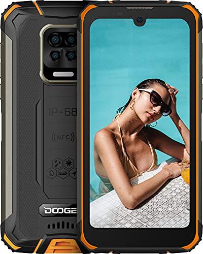 "DOOGEE S59 Móvil, [2021] 10050mAh, Cámara Cuádruple 16MP+Cámara Frontal 16MP Smartphone, 4GB RAM+64GB ROM Movil Resistente, IP68 IP69K Antigolpes, Potente Altavoz 2 W, 4G, 5.71"", NFC/GPS, Naranja"