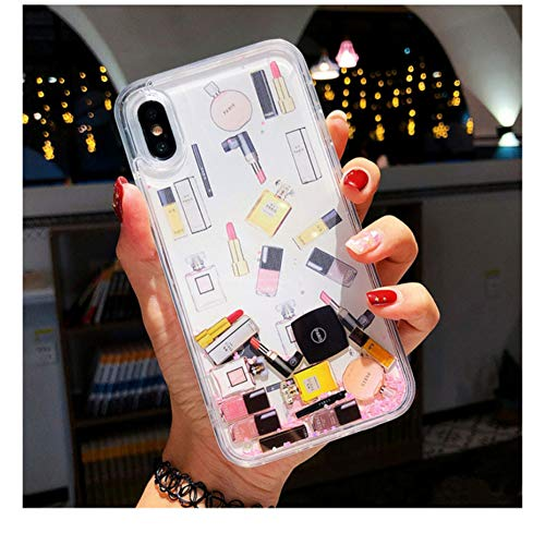 XLSJK Carcasa de Telefono Maquillaje Perfume Quicksand Glitter Phone Case para iPhone 11 Pro MAX 6 6S 7 8 Plus Funda para iPhone XS MAX XR X XS Funda