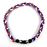 MapofBeauty 18' Sport Style Three Colors Fashion Three Braided Rope Tornado Necklace (Royal Blue/Red/White)