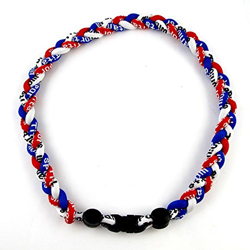 MapofBeauty 18  Sport Style Three Colors Fashion Three Braided Rope Tornado Necklace (Royal Blue Red White)