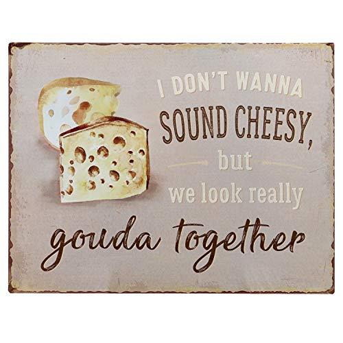 """Barnyard Designs I Don't Want to Sound Cheesy But We Look Really Gouda Together Funny Retro Vintage Tin Bar Sign Country Home Decor 13"""" x 10"""""""