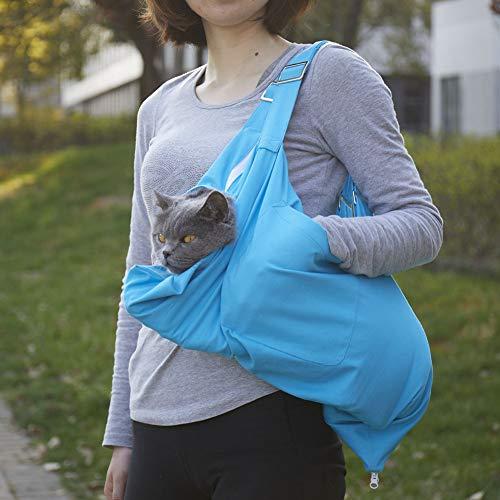 Furubaby Katzensack mit weicher Seite, für große kleine Katzen, Kätzchen, kleine Hunde, Welpen, Katzen, Haustiere, Tierarzt, Fluggesellschaft zugelassen, für Reisen im Auto, S, himmelblau