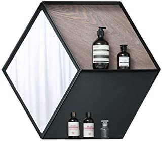 Qing MEI Simple About Modern Hanging Hexagonal Makeup Mirror Iron Wall Shelf Bedroom Bathroom Bathroom Mirror