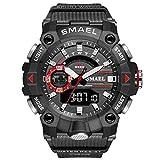 JTTM Hombre Relojes, Al Aire Libre Deportes Multifuncional Analógico Y Digital Deporte Relojes LED Relojes De Pulsera Men Watches,Black Red