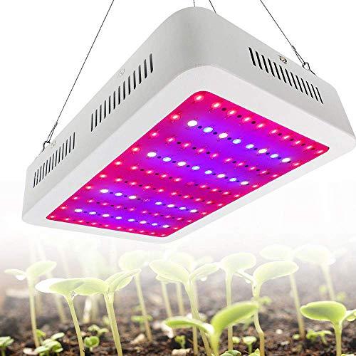 JJIIEE LED-Wachstumslicht, 1000-W-Vollspektrum-Dual-Chip-Wachstumslampe, energiesparende Hocheffizienz, verstellbares Seil, Wachstumslampe für Zimmerpflanzen Gemüse und Blumen
