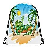 Bolsas de cordón Mochila Verde Iguana Ondeando Tomar el Sol Beber Cóctel Descansar Palmas Hamaca Mochilas de Viaje Totalizador Escuela RucksackCool