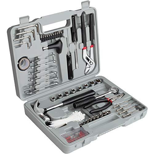 TecTake Werkzeugkoffer mit 141 Teilen, solide Grundausstattung der gebäuchlichen Werkzeuge, übersichtliche Anordnung im praktischen Tragekoffer