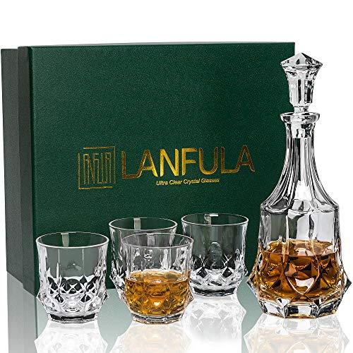 LANFULA Bicchieri e Bottiglia da Whisky Cristallo, 750 ml Decanter con 4 Bicchieri Whiskey 300 ml, Bella Confezione Regalo, 5 Pezzi