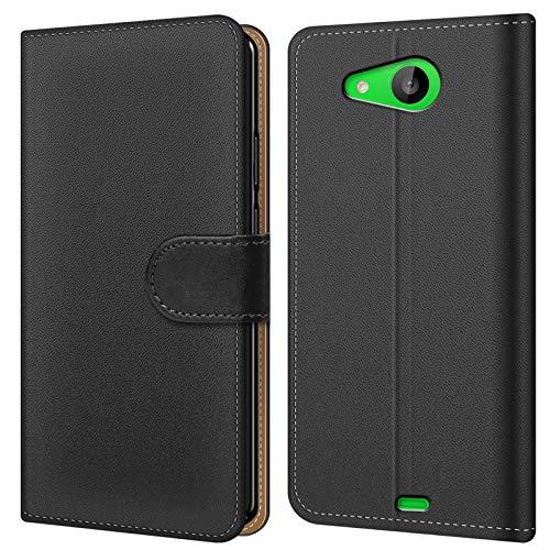 Conie BW19567 Basic Wallet Kompatibel mit Microsoft Lumia 535, Booklet PU Leder Hülle Tasche mit Kartenfächer & Aufstellfunktion für Lumia 535 Case Schwarz