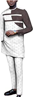 Men Clothing Set Bazin Jacquard Dashiki Tracksuit Shirts Pants 2 Piece Suit Attire Slim Fit