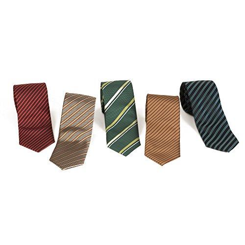 Tie Gift Set - 5 Men's Neckties And 2 Classy Tie Bars...