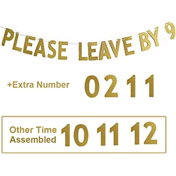 MAGQOO Please Leave by 10 or 11,12, 9 Holiday Party Hanging Letter Signs
