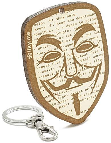 LIKY® Guy Fawkes Máscara Vendetta - Llavero Original de Madera Grabado Regalo Mujer Hombre cumpleaños pasatiempo joyería Colgante Bolso Mochila