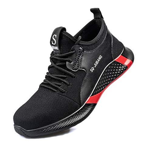 Gainsera Zapatos de Seguridad Zapatos de Trabajo Zapatos con Punta de Acero Ligero y Transpirable Hombres Mujeres Deportes Unisex Zapatos de Verano, 666 Black 40