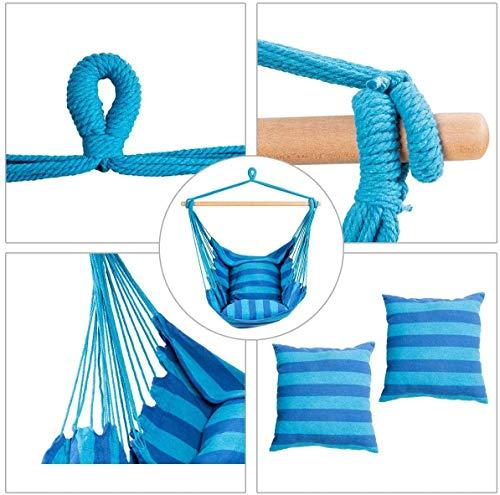 RELAX4LIFE Hängesessel, Hängesitz mit 2 abnehmbaren Kissen, Hängestuhl mit dickem Seil, Hängeschaukel für Kinder & Erwachsene, für Balkon & Wohnzimmer, bis zu 160 kg belastbar, waschbar (Hellblau) - 2