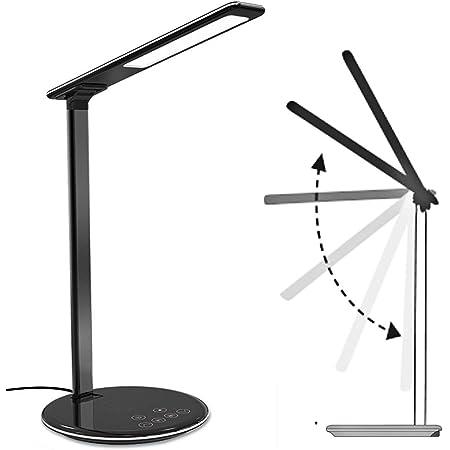 Lampe de Chevet & Chargeur Sans Fil,Lampe de Bureau LED avec Touch Control USB Contrôle Lampe Tactile 4 Modes et 5 Niveaux Lampe de Lecture Luminosité Réglable & Chargeur sans fil - Noir