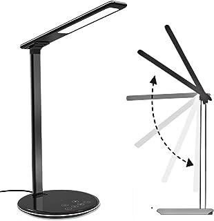 Lampe de Chevet & Chargeur Sans Fil,Lampe de Bureau LED avec Touch Control USB Contrôle Lampe Tactile 4 Modes et 5 Niveaux...