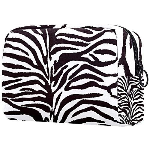 TIKISMILE zwart en wit zebra patroon grote make-up tas toilettas reizen cosmetische tas draagbare make-up zak voor vrouwen meisjes