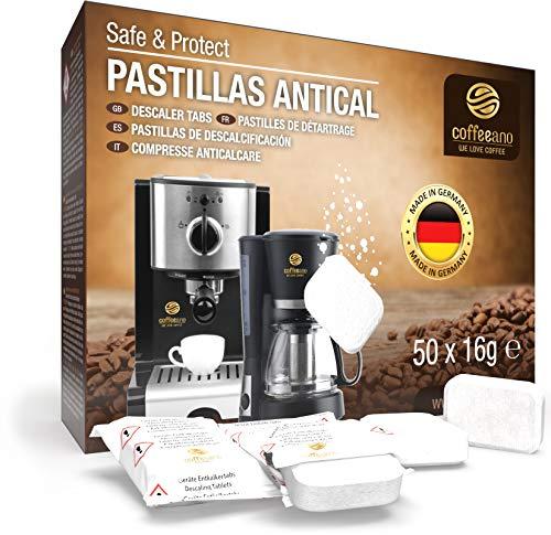Pastillas antical Coffeeano 50uds. XL para cafeteras automáticas y cafeteras. Pastillas antical aptas para todas las marcas y electrodomésticos. Incluye un libro electrónico: