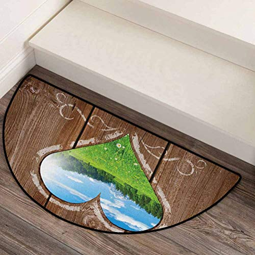Outhouse Silky Smooth semicircular Carpets Easy to Clean Heart Window View from Wooden Rustic Farm Barn Shed with Chalk Art Image Brown Blue and Green 44' L x 22' W
