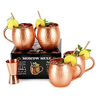 Set of 4 Copper Mugs with Free Extras - Moscow Mules - 100% Solid Copper Hammered Cups 16oz - Unique Extras: Jigger And Four Straws – Premium Quality – By Shoko Moscow