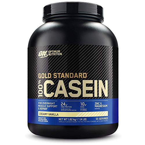 Optimum Nutrition Gold Standard Casein, Proteinas de Caseina en Polvo con BCAA Aminoacidos Esenciales, Zinc y Magnesio en Polvo, Vainilla, 55 Porciones, 1,82 kg, Embalaje Puede Variar