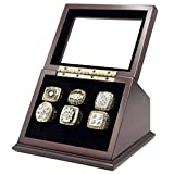 6 Slots Championship Rings Wooden Display case Shadow Box with Slanted Glass Window for Football Rings Basketball Hockey Sports Championship Rings - Rings are Not Included