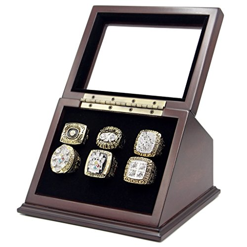 Trophies Collectible Championship Rings Display Box mit 6Löchern und abgeschrägter Glas Fenster für Jede Championship Rings–Ringe Sind Nicht im Lieferumfang Enthalten