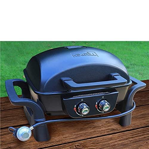 "Nexgrill 2 Burner Cast Aluminium 19"" Gas Table Top Grill BBQ"