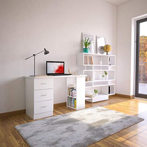 Piranha Furniture Guppy Schreibtisch mit Schubladen und Stauraum für Home Office, Weiß