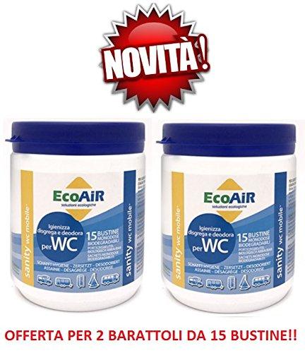 Sanity WC Polvere 15 BUSTINE per Serbatoio ACQUE Nere PRINCIO Attivo Aqua SACHETS - Offerta per 2 BARATTOLI da 15 BUSTINE