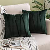 Woaboy Pack of 2 Striped Velvet Throw Pillow Covers Modern Decorative Solid Cushion Covers Pillowcases Square Soft Cozy for Bed Sofa Couch Car Living Room 18x18inch 45x45cm Dark Green