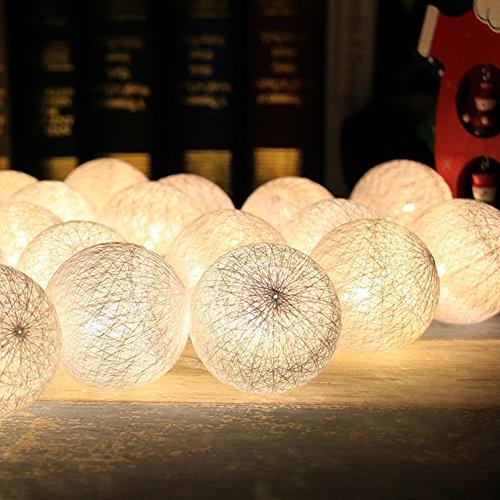 Morbuy Cotton Lichterketten, Wattebausch Lichterketten 6CM Ball Lights LED Lichterkette Festlich Hochzeiten Geburtstag Party 10 Baumwollkugeln LED Batterie Farbe Themen Lichterkette 1.8m