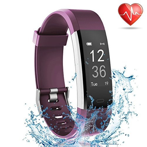 Lattie Fitness Tracker with Heart Rate Monitor, Smart Watch Activity Tracker Pedometer Sports Bracelet with Sleep Monitor Step Calorie Counter Wristband for Android and iOS Smartphone (Purple)