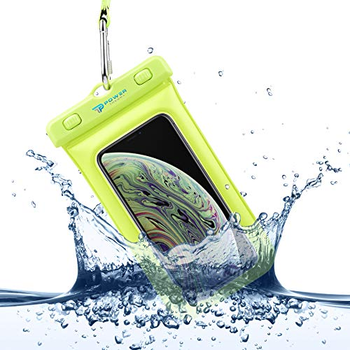 Power Theory Funda Impermeable Móvil - Bolsa Estanca Flotante (Certificada IPX8) - 16 cm - iPhone XS MAX,XR,X,7,8,6 Plus, Samsung Galaxy S10 Plus, S9, Edge, S8, S5, HTC, Huawei y Otros (Amarillo)
