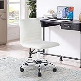 HOMYCASA - Silla de escritorio con respaldo medio giratorio, sin reposabrazos, acanalada, para oficina en casa (blanco)