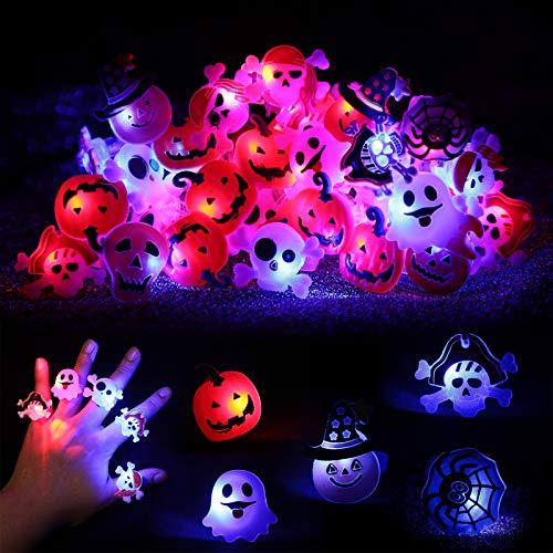 60 Stücke Halloween Party Begünstigt LED Blitz Ringe Dekorationen Lieferungen Blitz Finger Gummi Ringe Multiformen Kürbis Skelett Spinnen Elfen