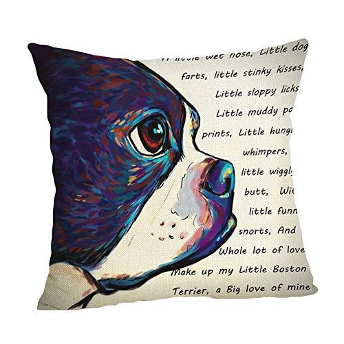WeiMay. Funda de cojín Decorativa de Lino, diseño de Cachorros de Animales, en Varios diseños, 45 x 45 cm
