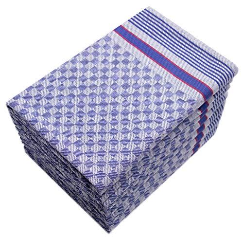 ZOLLNER 10er Set Geschirrtücher Baumwolle, blau-weiß-kariert, 50x100 cm