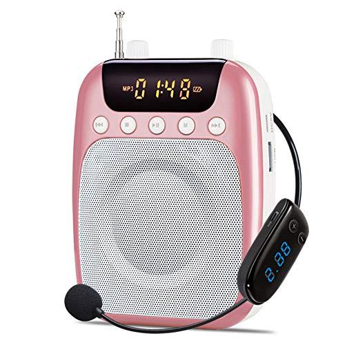 HUBI Amplificador de Voz, de Mini Altavoz portátil Amplificador de micrófono Altavoces de Audio pasivo Megáfono, para Maestro, guía turístico, capacitación,Rosado